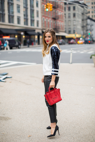 gal meets glam blogger top bag make-up jumper sequins pants red sequin shirt red bag black leather pants leather pants thanksgiving outfit