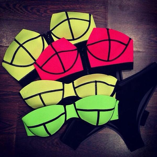 swimwear bikini neon neon bikini neon pink neon yellow neon green