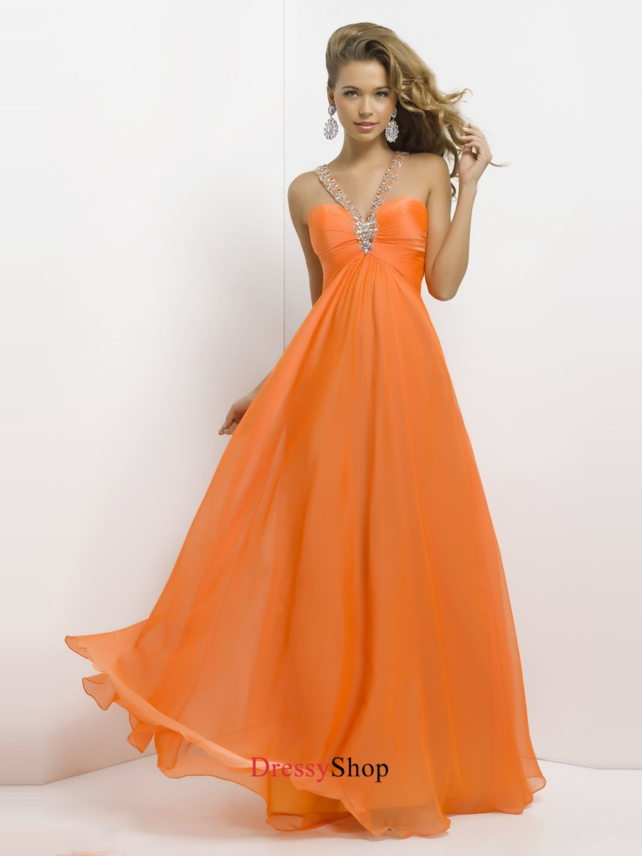 Lovely V-neck Empire Beadings Open Back Chiffon Prom Dress PD11687
