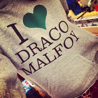 sweater draco malefoy movie book hoodie harry potter sweatshirt draco malfoy green grey heart hogwarts draco jacket clothes green sweater gray sweatshirt <3 grey sweater