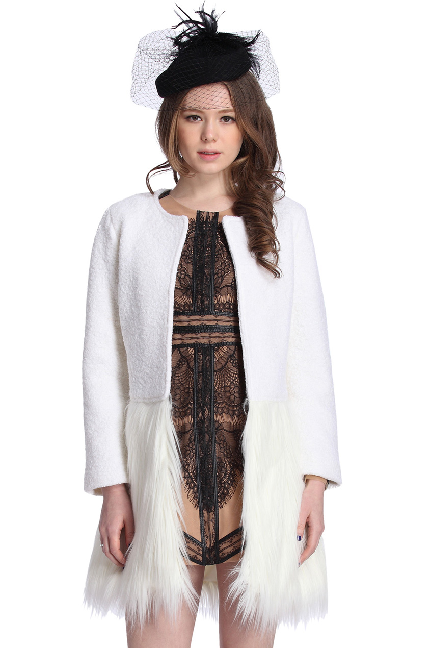 ROMWE   Panel Faux Furry White Coat, The Latest Street Fashion