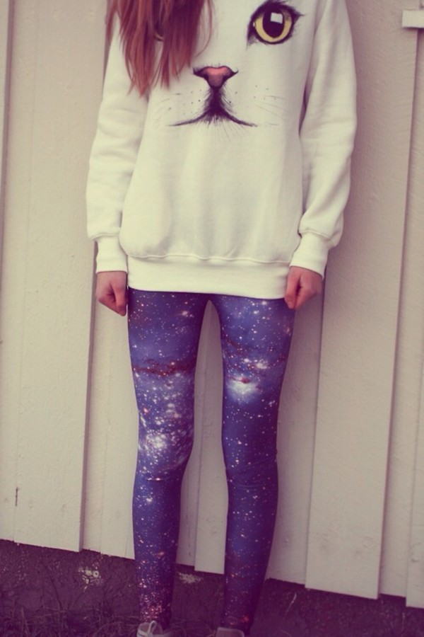 sweater grunge wishlist pants shirt jeans skinny pants girly leggings pantalon cats white galaxy leggings cats
