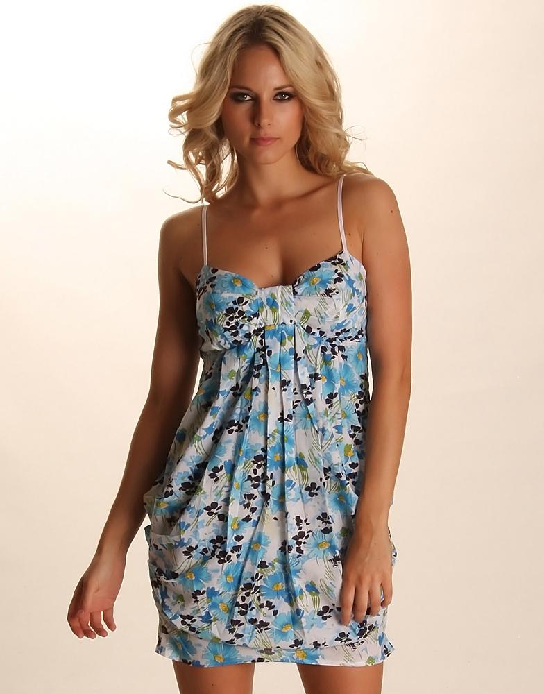 Womens Floral Print Tulip Hem Blue Summer Dress - ChiaraFashion