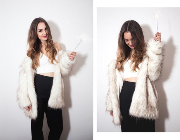 fashion agony blogger faux fur jacket high waisted pants white crop tops