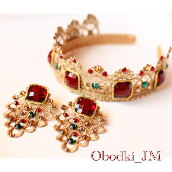 Head band tiara Dolce Gabbana style hair style by ObodkiJM on Etsy