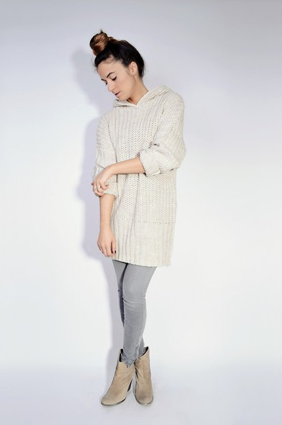 quality rivets blogger grey jeans knitted sweater sweater jeans shoes