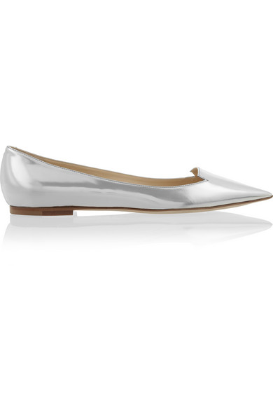 Jimmy Choo | Attila mirrored-leather point-toe flats | NET-A-PORTER.COM