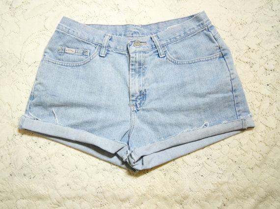 Cutoff Jeans Shorts High Waist Large 30 Waist by WhiteWaveVintage