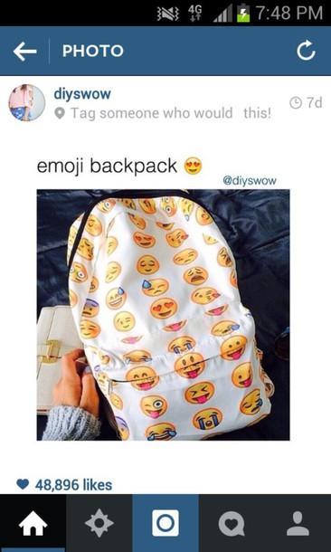 bag emoji print emojis backpack emoji print backpack instagram back to school school bag