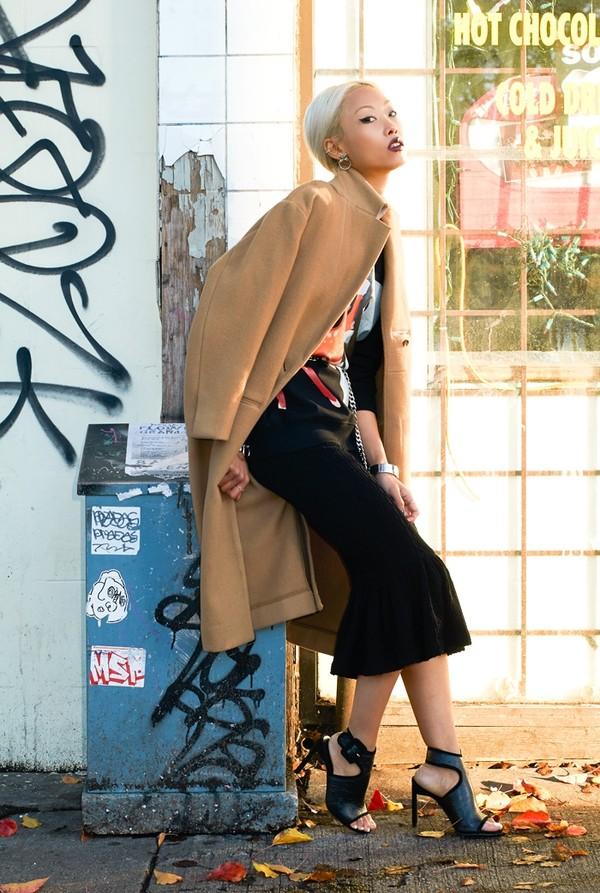 the haute pursuit sweater skirt coat belt shoes jewels
