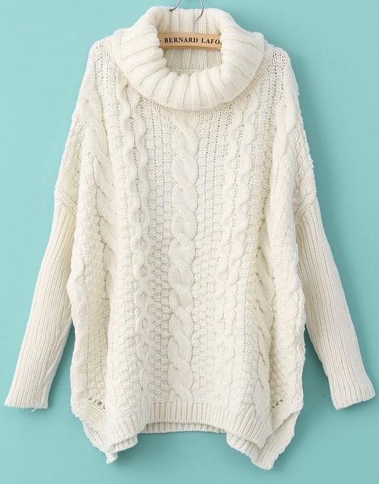 White Long Sleeve Turtleneck Chunky Cable Knit Sweater - Sheinside.com