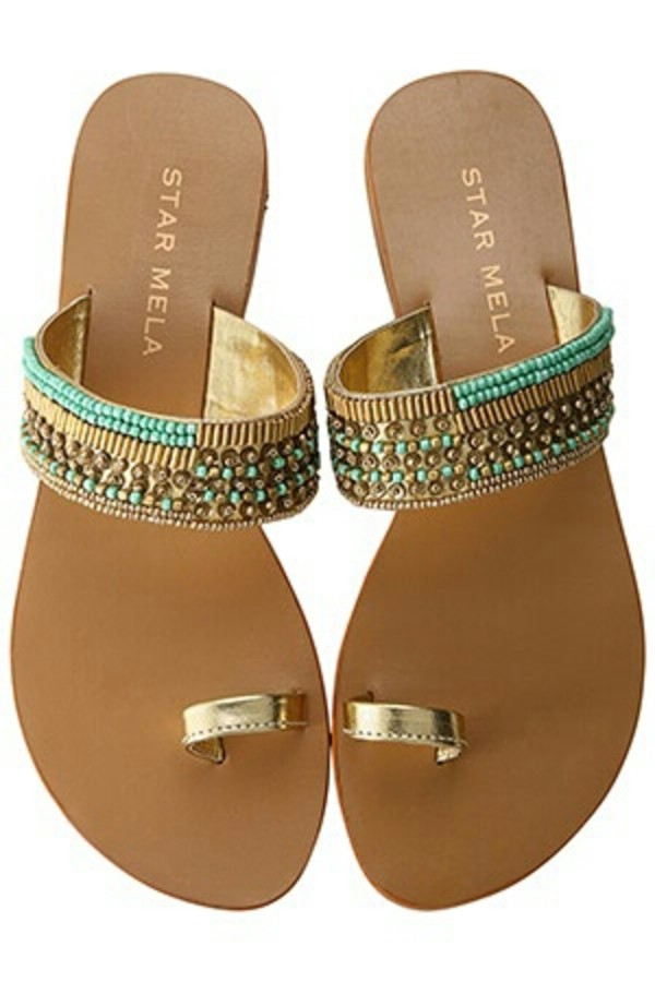 shoes gold turquoise beads sandals