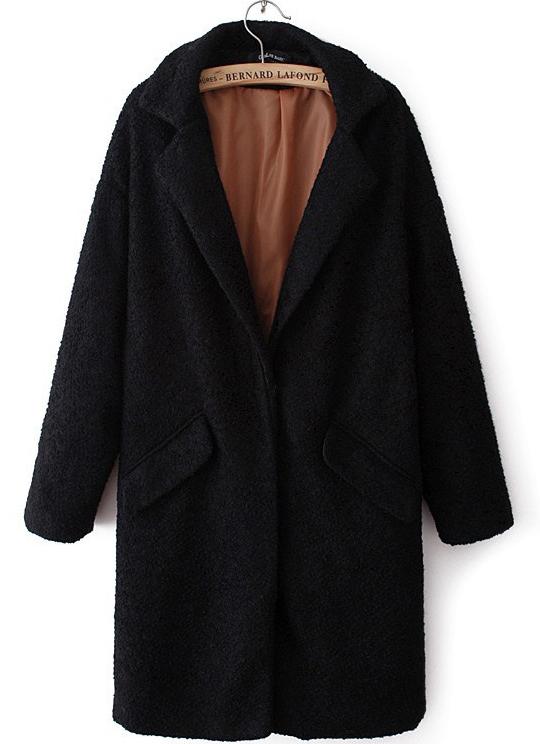 Black Lapel Long Sleeve Pockets Long Coat - Sheinside.com