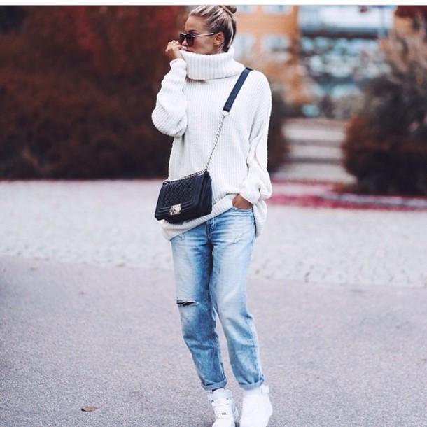 sweater jeans boyfriend jeans