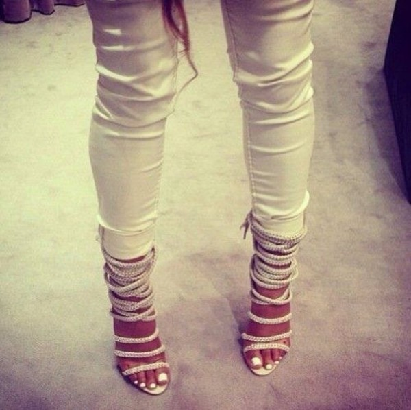 shoes high heels white heels straps strappy elegant sandals strappy sandals pants white strappy sandals heels strappy heels high heels