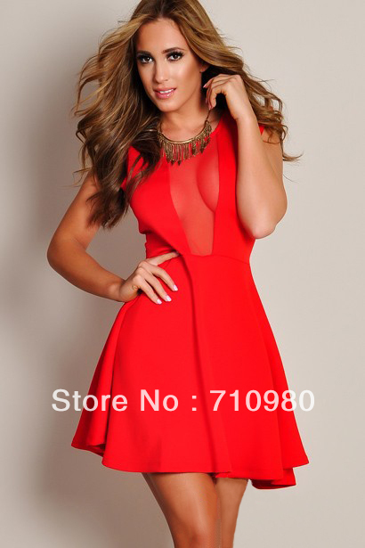 Fashion Summer 2013 Black/White/Red Sexy Dress For Women Deep V Mesh Open Back Club Wear  Drop Shipping L06072-in Dresses from Apparel & Accessories on Aliexpress.com