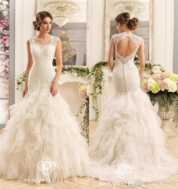 Dress Naviblue 2017 Wedding Dresses Cascading Ruffles Skirt