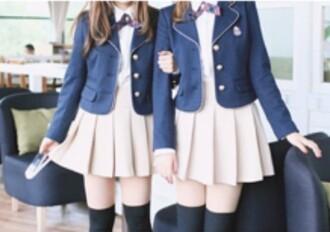 jacket blazer blue blue jacket korean fashion korean style pleated skirt tennis skirt white top white shirt white t-shirt white bow beige skirt socks overknee black kawaii japanese cute girly blue jacket blazer tights school uniform korean school style japan yesstyle