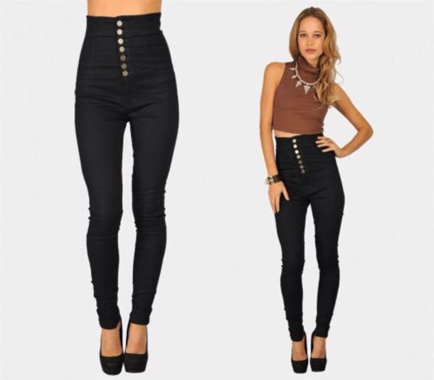 jeans black buttoned up high waisted skinny jeans
