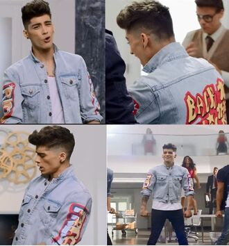 jacket fashion white blue style denim jacket leather jacket perfecto one direction zayn malik t-shirt