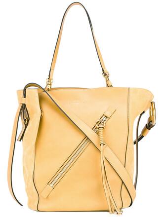 women leather cotton suede yellow orange bag
