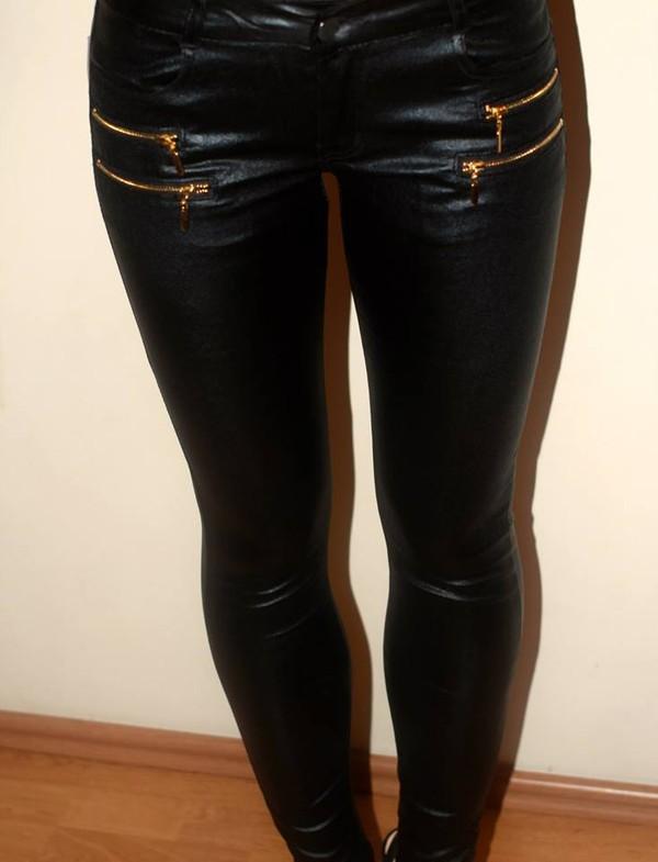 pants leggings black leather pants