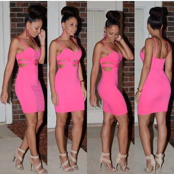 dress pink dress cut-out dress