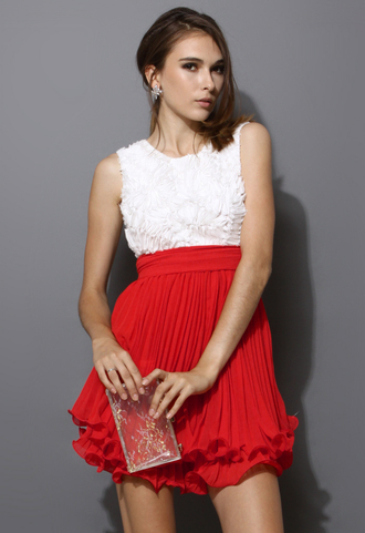 dress flowers women blogger red sleeveless colorblock pleated rose red