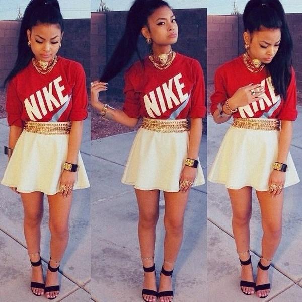 skirt skater skirt white flawless nike killem dope jewels belt shirt shoes