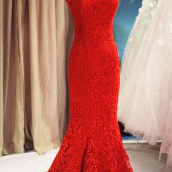 Custom High Neck Trumpet Mermaid Sleeveless Red Lace Train Long Dress Prom Dress Evening Dress Formal Dress Wedding Dress Bridesmaid Dress on Wanelo