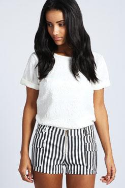 Emmi Cargo Striped Twill Shorts at boohoo.com