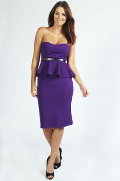 Faye Bandeau Belted Peplum Midi Dress at boohoo.com
