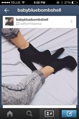 shoes black heels jeans boots black velvet