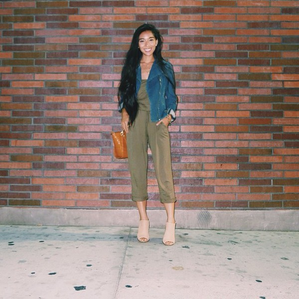 honey and silk jumpsuit jeans jacket