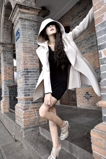 Street Style Pure Color Hooded Coat with Drawstring [FEBK0223] - PersunMall.com