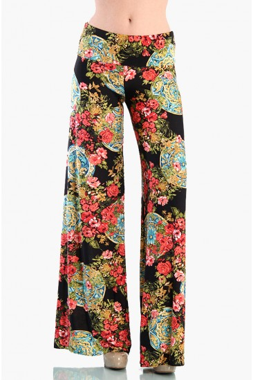 LoveMelrose.com From Harry & Molly | Tropical Flare Pants - Black