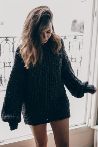 sweater tumblr grey sweater oversized sweater oversized long hair brunette