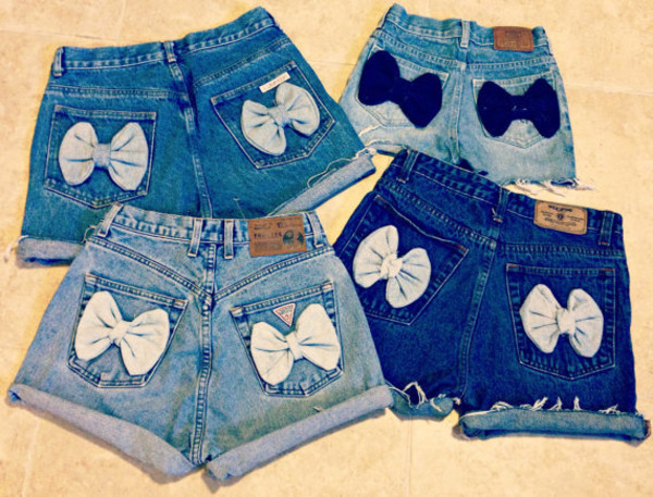 shorts bows denim cute shorts High waisted shorts