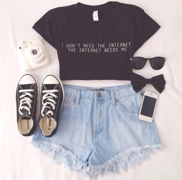 black top crop tops black converse denim shorts quote on it frayed denim frayed jeans pants