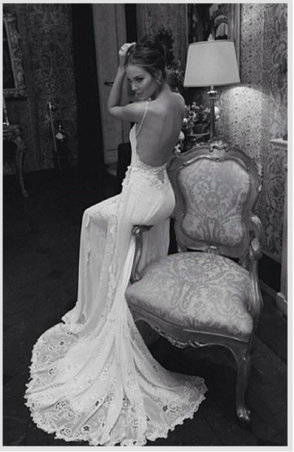 dress wedding dress white dress backless lace wedding dress