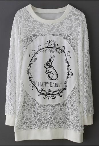 Happy Rabbit Full Lace Top - Retro, Indie and Unique Fashion