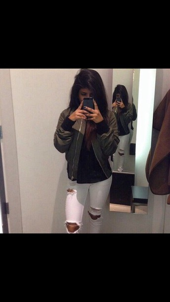 jeans white ripped jeans jacket