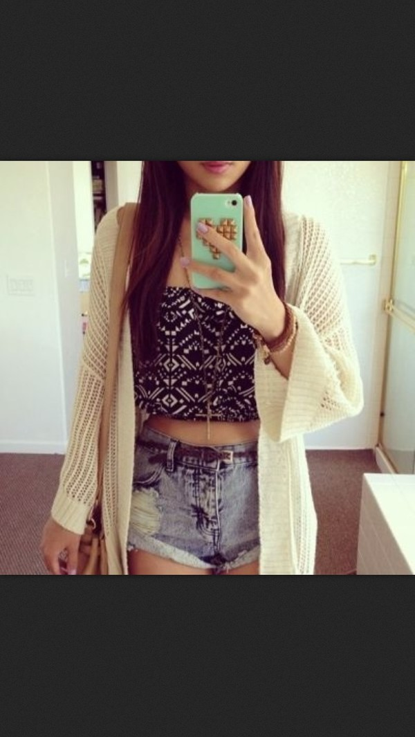 sweater tank top shorts cream sweater High waisted shorts