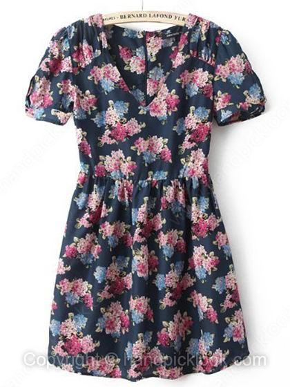 Navy V-neck Short Sleeve Floral Print Chiffon Dress - HandpickLook.com