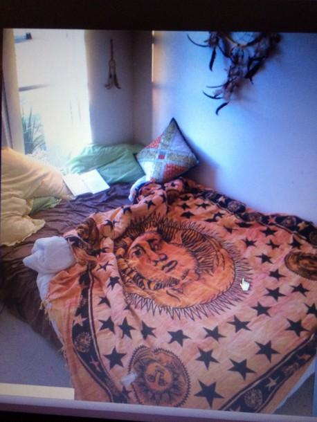 bag bedding bedding indie hippie blanket sun cool orange tapestr celestial tapestry