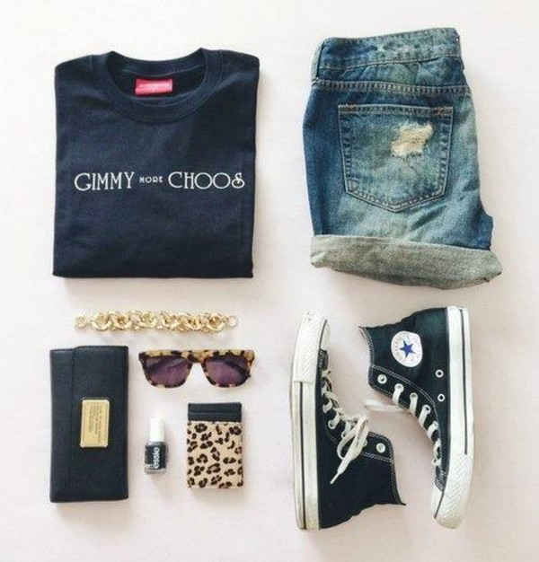 sweater gimmy choos converse sunglasses shorts jeans jewelry swag nail polish