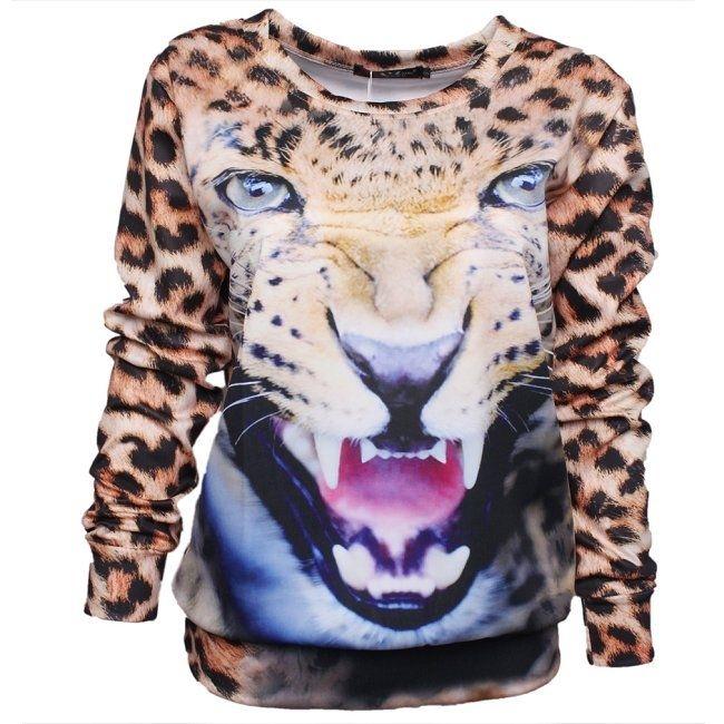 New Lady's Spring Winter Printed Leopard Tiger 3D Cool Sport Hoodie Sweatshirt   eBay