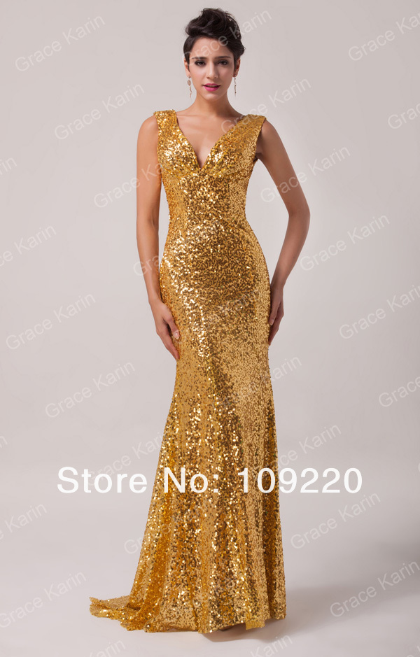 New  Grace Karin Shining Sexy Sheath Deep V Ball Gown Long Gold Evening Sequins Prom Party Formal Dresses Women 2014 CL6052-in Evening Dresses from Apparel & Accessories on Aliexpress.com