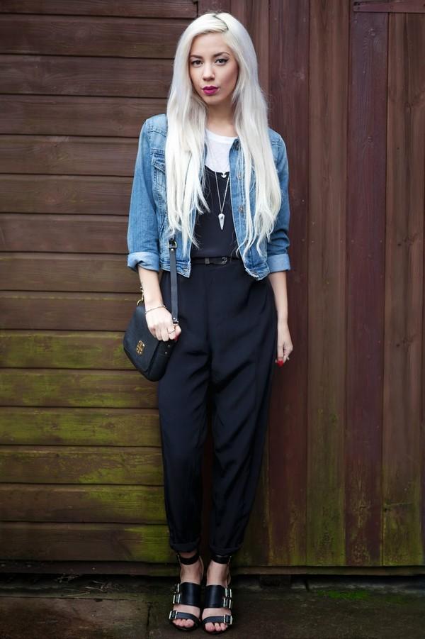 leanne lim walker pants t-shirt belt jacket bag shoes jewels