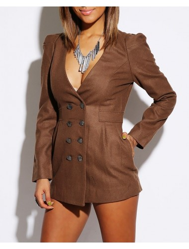 Brown Double Breasted Blazer | Clothing | Womens Clothing, Shoes, Jewelry & Plus Sizes | B. De'Lish